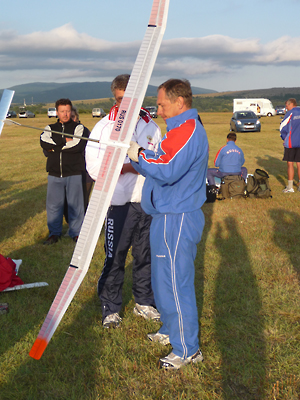 Russia's Sergey Makarov gets ready to put up a test flight with his F1A, with help from partner Mikhail Kochkarov, after he won the World Championships in Croatia.