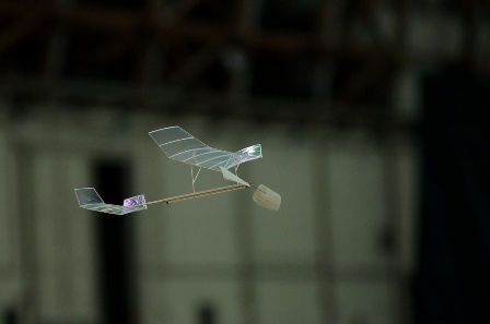 A Pennyplane on its way in the Tustin Blimp Hangar, June 11, 2011. Photo courtesy Brian Furitani. More on Flickr